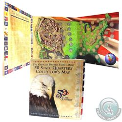 The Official United States Mint 50 State Quarters Collector's Map. Features each quarter in a capsul