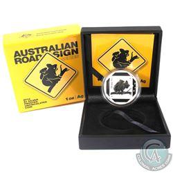 2014 Australia $1 Australian Road Sign Series - Koala 1oz Fine Silver Coin (Outer sleeve is bent on