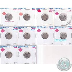 Estate Lot 1871-1919 Canada Silver 5-cent Collection.  You will receive the following dates, 1871, 1