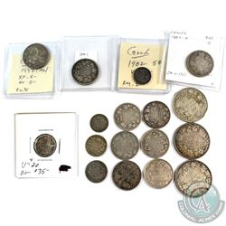 Estate Lot 1882-1947 Canada Silver Type Coin Collection.  You will receive 9x 25-cent coins Dated be