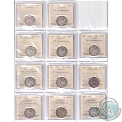 Estate lot of 1937-2004 Canada 25-cent All ICCS Certified in Various Grades. Dates include: 1937 VG-
