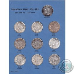 Estate lot of 1937-1960 Canada Silver 50-cent collection in vintage Whitman Album. You will receive