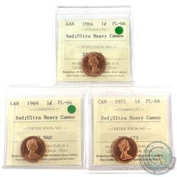 1964,1969 & 1971 Canada 1-cent ICCS Certified PL-66 Ultra Heavy Cameo.  3pcs