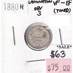 ERROR 1880H Obverse 3 Canada 5-cents Lamination Error  VF-EF (toned)