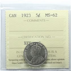 1923 Canada 5-cent ICCS Certified MS-62