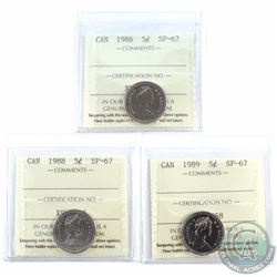 1986,1988, & 1989 Canada 5-cent  ICCS Certified SP-67. 3pcs