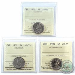 1930, 1932, & 1934 Canada  5-cent  ICCS Certified AU-55. 3pcs
