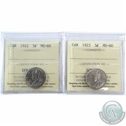 1922 Far Rim & 1923 Canada 5-cent ICCS Certified MS-60. 2pcs