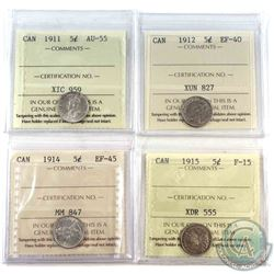 1911,1912,1914, & 1915 Canada 5-cent ICCS Certified coins.  Lot includes: 1911 AU-55, 1912 EF-40, 19