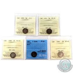 1888, 1893,1899,1901 & 1902 Canada 5-cent ICCS/CCCS Certified Coins. Lot includes: 1888 ICCS VG-10,