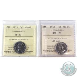 1953 NSF Far Leaf & 1953 SF Near Leaf Canada 5-cent ICCS Certified MS-65. 2pcs