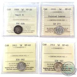 1908 Small 8, 1910 Pointed Leaves, 1911 & 1912 Canada 5-cents all ICCS Certified. Lot includes: 1908
