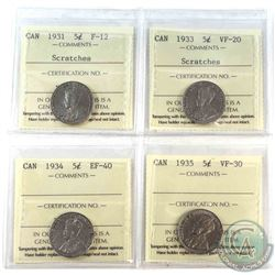 1931,1933,1934 & 1935 Canada 5-cents All ICCS Certified: 1931 F-12 (scratched), 1933 VF-20 (scratche