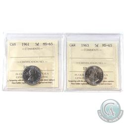 1961 & 1963 Canada 5-cent ICCS Certified MS-65. 2pcs