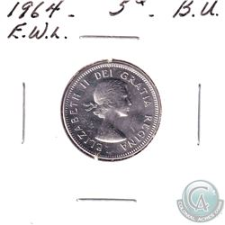 1964 Extra Waterline Canada 5-cent Brilliant Uncirculated Condition.