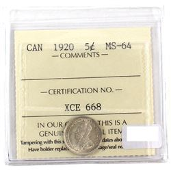 1920 Canada 5-cent ICCS Certified MS-64