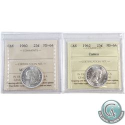 1960 Canada 25-cent ICCS Certified MS-64 & 1962 25-cent MS-64 Cameo. 2pcs