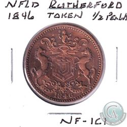 NFLD 1/2 Penny Rutherford Bros. Harbour Grace Copper & Brass ( Charlton Ref #NF-1C1)