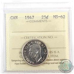 1947 Canada 25-cent ICCS Certified MS-62