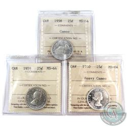 1958 Cameo , 1959 & 1960 Heavy Cameo 25-cents  ICCS Certified MS-64. 3pcs