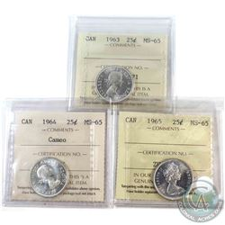 1963,1964 cameo, & 1965 Canada 25-cent ICCS Certified MS-65. 3pcs