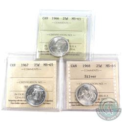 1966, 1967 & 1968 Silver 25-cent ICCS Certified MS-65. 3pcs