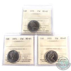1970,1971 & 1972 Canada 25-cent ICCS Certified MS-65. 3pcs