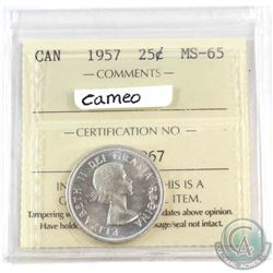 1957 Canada 25-cent ICCS Certified MS-65 Cameo