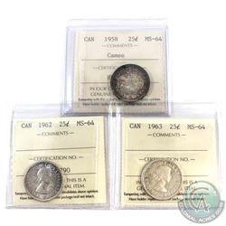 1958 Cameo, 1962 & 1963 Canada 25-cent ICCS Certified MS-64. 3pcs