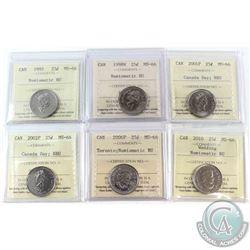 1995-2006 Canada 25-cent ICCS Certified MS-66 NBU. Lot includes 1995,1998W,2001P Canada day,2002P Ca