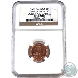 2006 Canada Magnetic 1-cent NGC Certified MS-67 Red