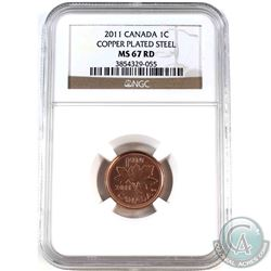 2011  Canada Magnetic 1-cent NGC Certified MS-67 Red