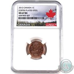 2012  Canada Magnetic 1-cent  NGC Certified MS-67 Red