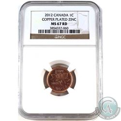 2012 Canada Non-Magnetic 1-cent NGC Certified MS-67 Red