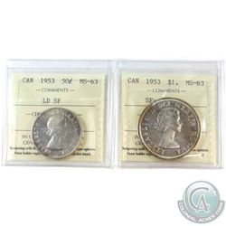 1953 Large Date SF 50-cent & 1953 SF Cameo Silver Dollar both ICCS Certified MS-63. 2pcs