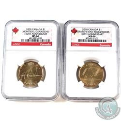 2009 Montreal Canadian  100th anniversary & 2010 Saskatchewan Roughrider Loon Dollars NGC Certified