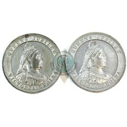 Medal: Pair of White metal Circa 1887 Queens Jubilee Medallions both have the same obverse dies but