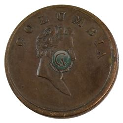 """Medal: English Columbia Farthing token (Circa 1820-30), Featuring the words """"COLUMBIA"""" with the mans"""
