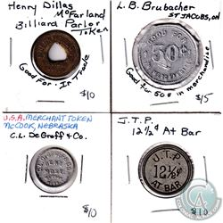 Estate Lot of Merchant Trade Tokens. You will receive a USA C.L DeGroff & Co. Token, J.T.P 12 1/2c B