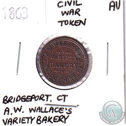 1863 Bridgeport Ct, A.W. Wallace's Variety Bakery, Civil War Token AU