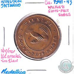1941-43 Windsor Ontario Willkie's Glove-phit shoes Good Luck Token.