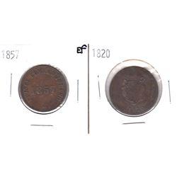 1820 LC-60E2 Bank Token AU & 1957 PE-7CI Prince Edward Island Token EF. 2pcs