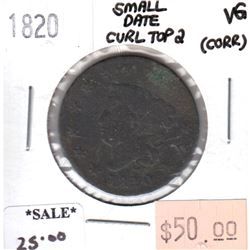 1820 Small Date Curl Top 2 USA Cent Very Good (VG-8) corrosion