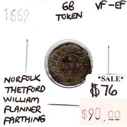 Great Britain 1669 Token Norfolk Thetford William Flanner Farthing VF-EF