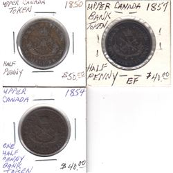 Lot of 3x Bank of Upper Canada Half Penny Tokens. This lot includes: 1850, 1854 & 1857. 3pcs