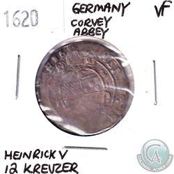 Germany Corvey Abbey 1620; 12 Kreuzer; Heinrick V; VF