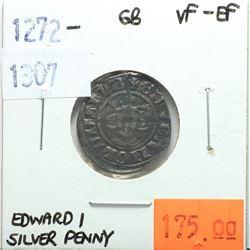 Great Britain 1272-1307 Silver Penny; Edward I; VF-EF