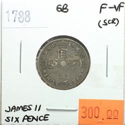 Great Britain 1788 Six Pence; James II; F-VF (scratched)