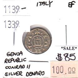 Italy 1139-1339 Genoa Republic Silver Denaro Conrad II Extra Fine