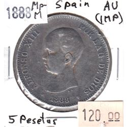 Spain 1888 MP-M 5 Pesetas Almost Uncirculated (impaired)